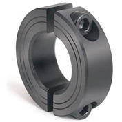 Metric Two-Piece Clamping Collar, 25mm, Black Oxide Steel