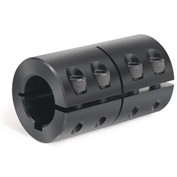 Metric One-Piece  Standard Clamping Couplings w/Keyway, 25mm, Black Oxide Steel