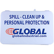 Global Industrial Spill Clean-Up & Personal Protection Kit, Plastic Case, 14 Pieces
