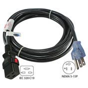 Conntek 8F515LC19, 15A, Power Supply Cord with Push Lock, NEMA 5-15P to IEC C19