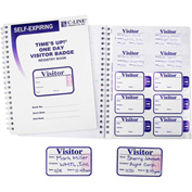 "C-Line® Time's Up! Self-Expiring Visitor Badge with Registry Log, 3"" x 2"", 150/Pack"