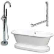 "Cambridge Plumbing Bathtub Set W/Acrylic Dbl Ended Pedestal Tub 70"" X 30"" & Freestanding Tub Filler"