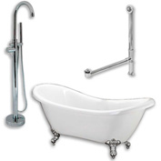 "Cambridge Plumbing Bathtub Set Acrylic Double Ended Slipper Tub 68"" X 28"" & Freestanding Tub Filler"