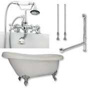 "Cambridge Plumbing Bathtub Set W/Acrylic Slipper Bathtub 67"" X 30"" & 7"" Deck Mount Faucet"