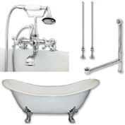 "Cambridge Plumbing Bathtub Set W/Cast Iron Double Ended Slipper Tub 71"" X 30"" & 7"" Deck Mount Faucet"
