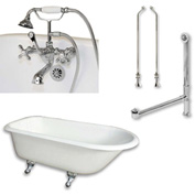 "Cambridge Plumbing Bathtub Set Cast-Iron Rolled Rim Clawfoot Tub 55"" X 30"" & 3 3/8"" Tub Wall Faucet"