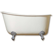 "Cambridge Plumbing Cast Iron Swedish Slipper Tub 58"" X 30"" & Polished Chrome Feet"