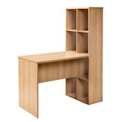 OneSpace Large Modern Office Desk with Attached Bookshelf - Oak
