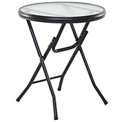 "OneSpace Basics 16"" Round Glass Folding Side Table - Clear with Black Frame"