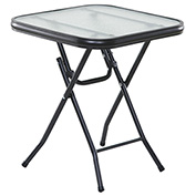 "OneSpace Basics 16"" Square Glass Folding Side Table - Clear with Black Frame"