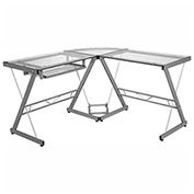 Comfort Products Ultramodern Glass L-Shape Computer Desk, Silver/Clear