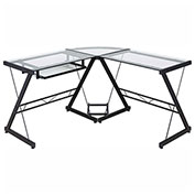 OneSpace 50-JN110500 Ultramodern Glass L-Shaped Computer Desk, Black/Clear