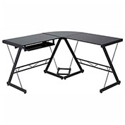 Comfort Products Ultramodern Glass L-Shape Computer Desk, Black/Smoke