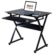 OneSpace 50-JN1205 Ultramodern Glass Computer Desk, with Pull-Out Keyboard Tray, Black