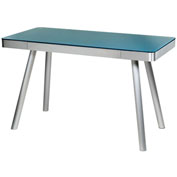 OneSpace 50-JN1407 Glass Computer Desk with Brushed Aluminum Frame, Cool Blue