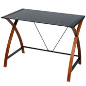 OneSpace 50-JN15B05 Glass and Wood Computer Desk, Black