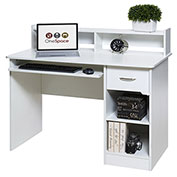 OneSpace Essential Computer Desk - Hutch with Pull-Out Keyboard - White