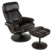 Relaxzen Basic Recliner with Ottoman - Bonded Leather - Brown