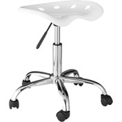 OneSpace Computer Task Stool with Tractor Seat - White