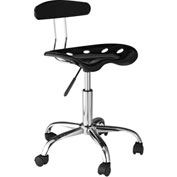 OneSpace Computer Task Stool with Tractor Seat and Back - Black