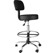 OneSpace Medical Drafting Stool with Back Cushion - Black