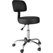 OneSpace Medical Stool with Back Cushion - Black