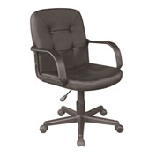 OneSpace Leather Mid-Back Office Chair - Black