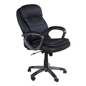 OneSpace Leather Executive Office Chair with Pillow Top and Padded Armrests
