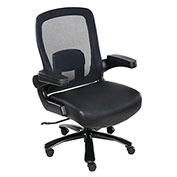 OneSpace Big and Tall Executive Office Chair - Leather with Mesh Back - Black - Taft Series