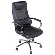 OneSpace High-Back Executive Mesh Chair with Head and Lumbar Support - Black