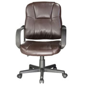 Comfort Products Massage Mid-Back Leather Task Chair Brown