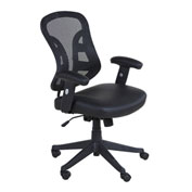 OneSpace Mid-Back Mesh PU Leather Seat Chair and 2-to-1 Synchro Tilt - Black