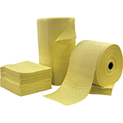 "Chemtex 15"" x 19"" Double Weight, Hazmat Bonded Sorbent Pads, Yellow, 100 Pads/PKG"