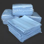 "Chemtex 12"" x 13"" 1/4 Fold Blue Spunlace Wipers, Heavy Duty"