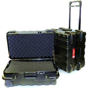 "Chicago Case MSCART2113F, Foam-Filled Wheeled Shipping Case, 23-1/2""L x 17-1/5""W x 13""H, Black"