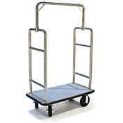 "CSL HD Square Bellman Cart 2599BK-080-GRY Stainless, Gray Carpet, Black Bumper, 8"" Semi-Pneumatic"