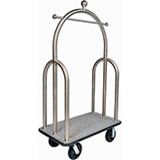"CSL HD Trident Bellman Cart 3599BK-080-GRY Stainless, Gray Carpet, Black Bumper, 8"" Semi-Pneumatic"