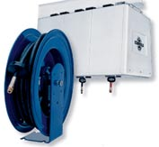 "Spring Rewind Enclosed Cabinet Hose Reel For Grease: 3/8"" I.D., 30' Hose, Less Hose, 4000 PSI"