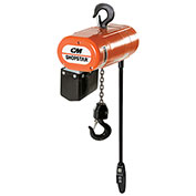 CM ShopStar Electric Chain Hoist W/Chain Container 1000Lb Cap 6 FPM 10' Lft 110V