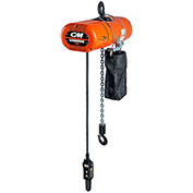 CM Lodestar Electric Chain Hoist w/Chain Container, 1/8 Ton, 10 Ft. Lift, 5.3-32 FPM, 230V