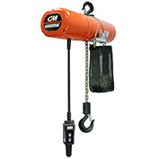 CM Lodestar Electric Chain Hoist w/Chain Container, 1 Ton, 20 Ft. Lift, 16 FPM, 230/460V