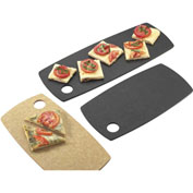 """Cal-Mil 1531-612-13 Rounded Edge Rectangle Flat Bread Board 12""""W x 6""""D x 1/4""""H Black - Pkg Qty 3"""