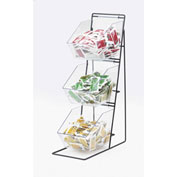"Cal-Mil 1709 3 Tier Iron Condiment Display with Clear Bins 12""W x 18""D x 22""H"