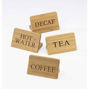 "Cal-Mil 606-3 Hot Water Bamboo Beverage Sign 3""W x 2""H - Pkg Qty 12"
