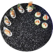 """Cal-Mil SS150-31 - Round Simulated Stone Tray 15"""" Dia. x 1/2""""H Black"""