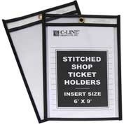 C-Line Products Shop Ticket Holders, Stitched, Both Sides Clear, 6 x 9, 25/BX - Pkg Qty 2
