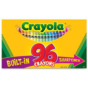 Crayola® Regular Crayons, Built-In Sharpener, Assorted, 96/Box
