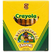 Crayola® Large Multicultural Crayons, Nontoxic, Assorted, 8/Box