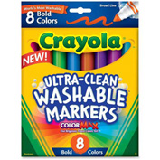 Crayola® Washable Bold Markers, Broad Tip, Nontoxic, Assorted, 8/Set