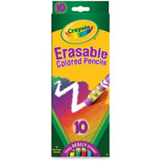 Crayola® Erasable Colored Pencils, Nontoxic, Assorted Colors, 10/Set